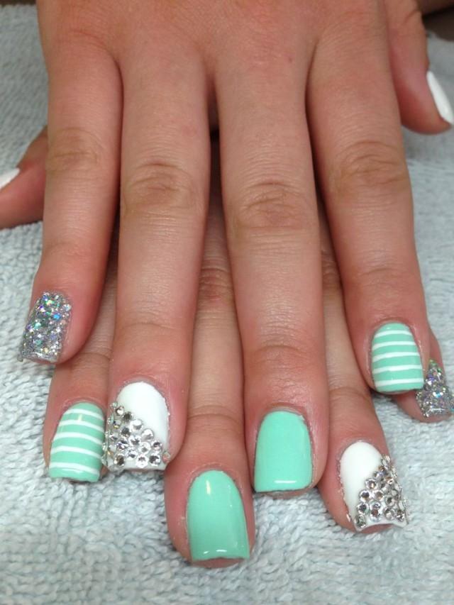 Cute Nail Designs With Mint Green: Pretty winter nail art ideas designs.