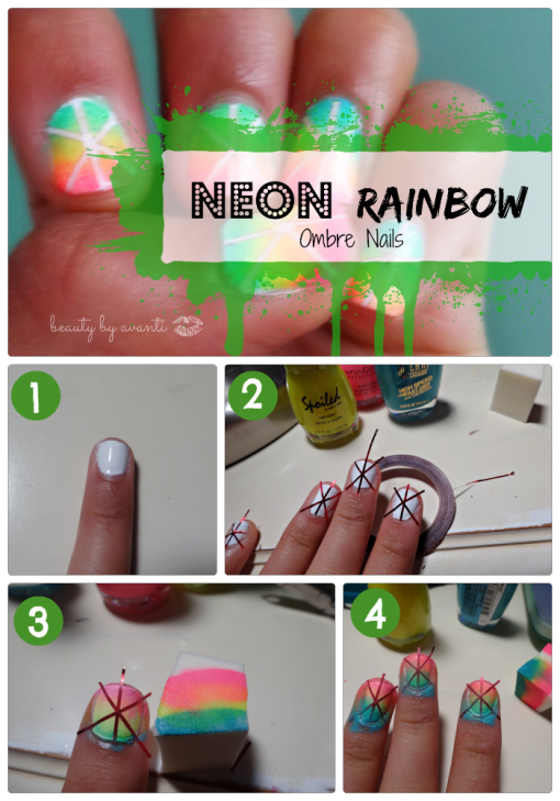 neon-rainbow-ombre-nails