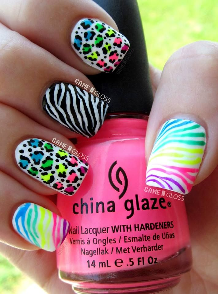 Fabulous and Eye-Catching Neon Nails Art Designs