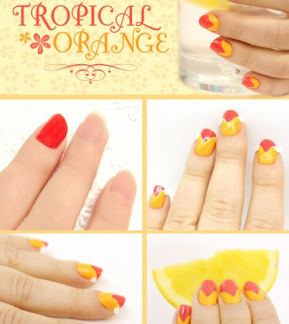 tropical orange nail collage