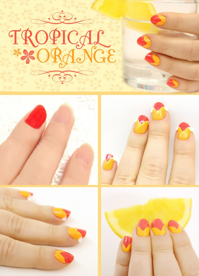 tropical orange nail collage