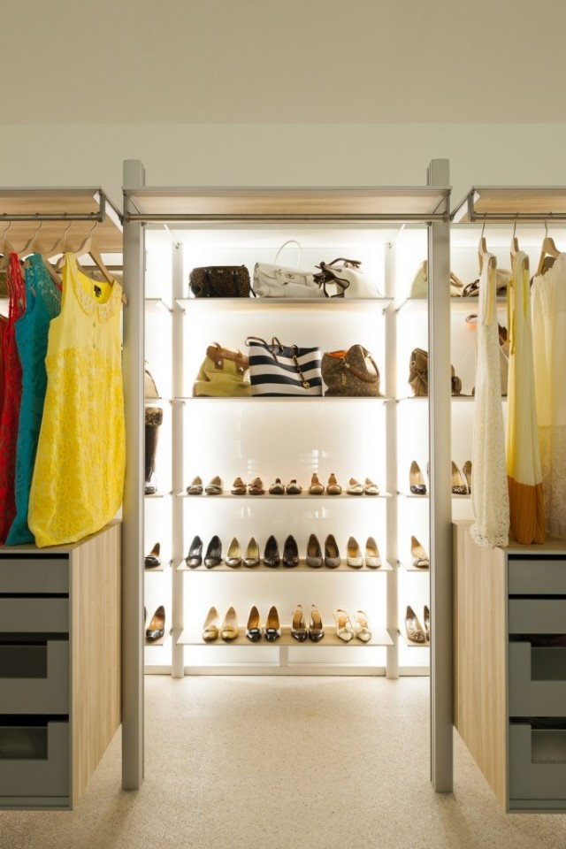 Walk-in-closet-concepts-for-women-stainless-steel-shelves-stylish-high-heels-assorted-colours-dresses-250-Bruce-laminate-flooring-682x1024