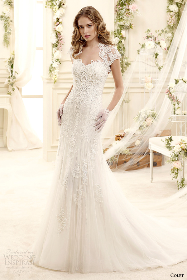 Princess Anne Wedding Dress Pictures : Coab iv short sleeves princess anne neckline sheath wedding dress