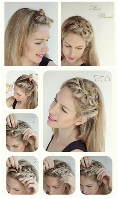 Hairstyles Tutorials : cute-bow-braids-hair-style-for-long-hair-tutorial