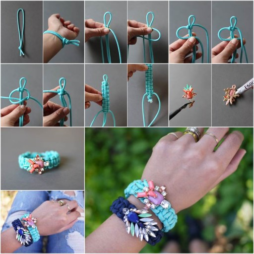How To Make Jeweled Paracord Bracelet Step By