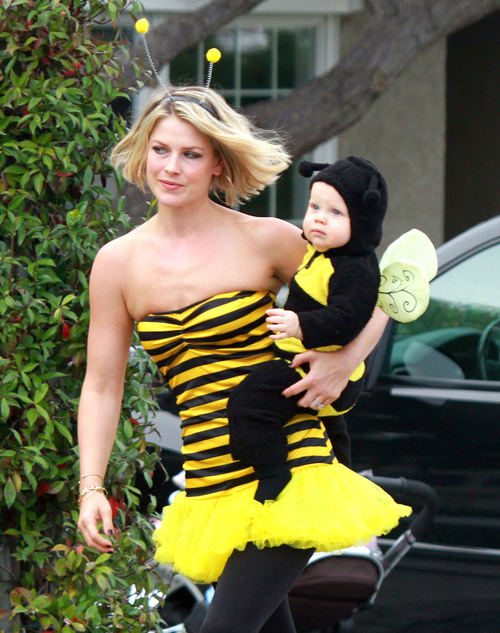 EXCLUSIVE: Ali Larter And Son Dressed As Bumble Bees For Halloween