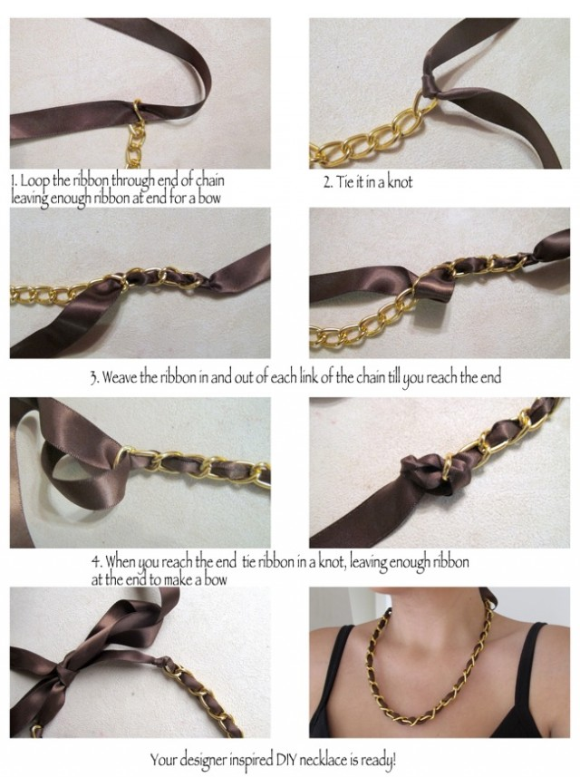 step by step diy chain and ribbon necklace tutorial