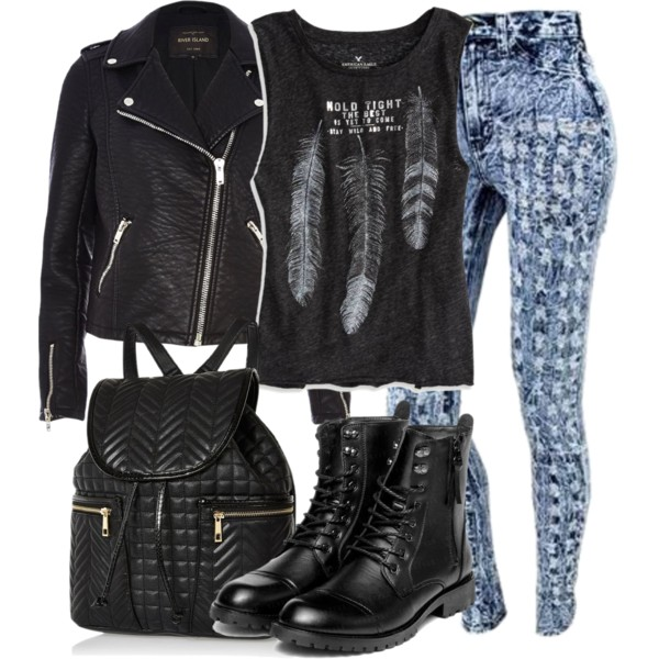 impressive leather jacket outfits polyvore