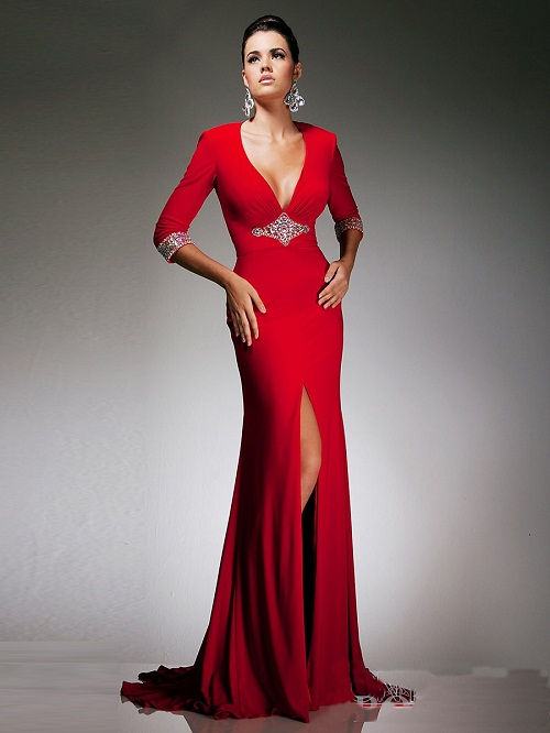 Image Via Dressek Red Wedding Dresses With Sleeves