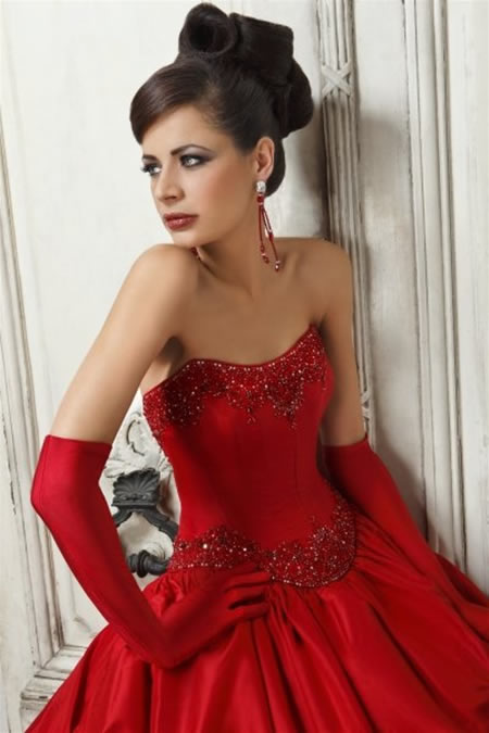 Pics For > Beautiful Red Wedding Dresses