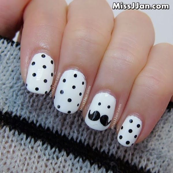 november movember mustache moustahe nail art tutorial manicure blog 01