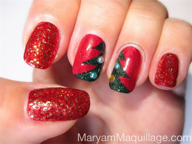 15 Adorable Christmas Manicures With Reds, Whites And Greens