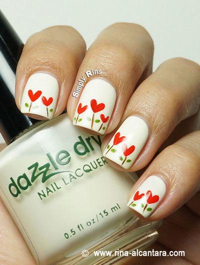 Heart-garden-nails-art
