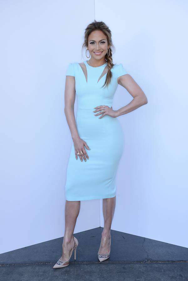 Jennifer-Lopezs-American-Idol-Safiyaa-Cut-Out-Zip-Ice-Blue-Dress-and-Jimmy-Choo-