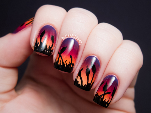 chalkboard-nails_for_alllacqueredup_gradient-ombre-nail-art-cattails-sunset
