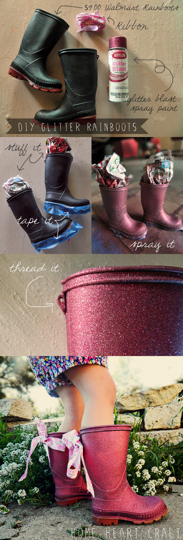 diy glitter rainboots kid how to 2