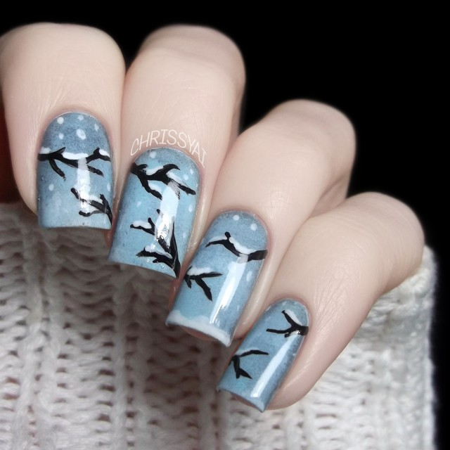 general-exquisite-winter-nail-art-design-idea-with-snowy-trees-and-white-snow-dots-on-blue-nails-idea-winter-nail-designs