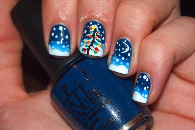 general-wonderful-winter-nail-design-ideas-with-brilliant-falling-snow-and-pine-tree-motif-nail-art-designs-blue-and-white