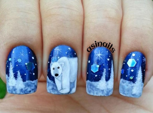 trees-snow-polar-bear-winter-nails