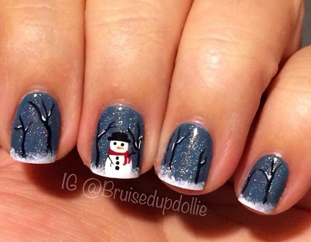 trees-snow-snowman-winter-nails