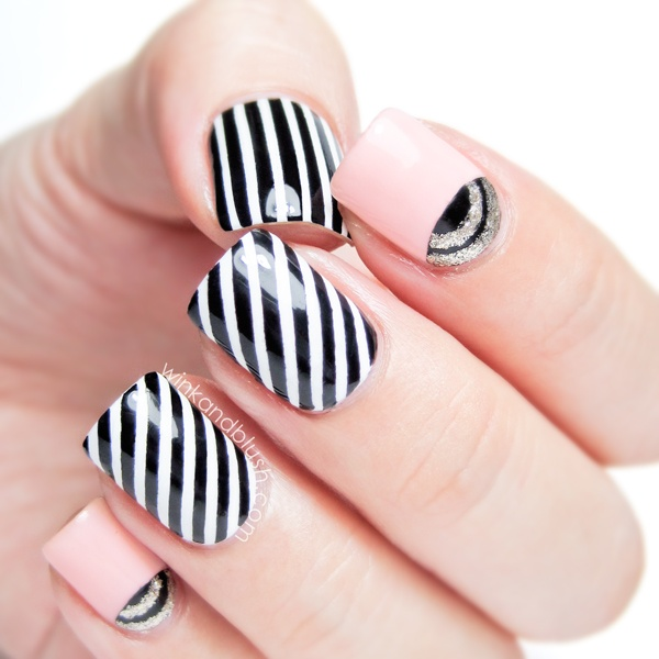Classic-Black-and-White-Striped-Nail-Art-Design-For-Girl