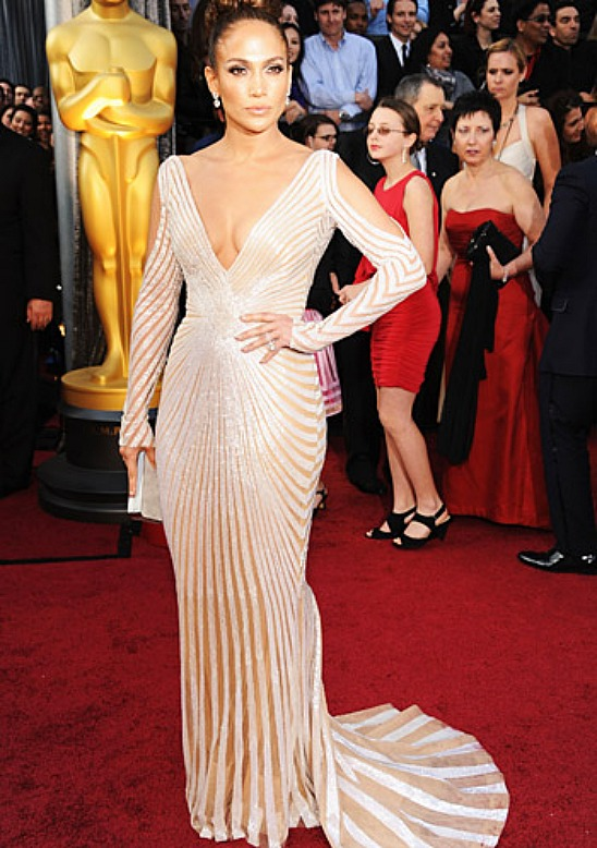 Red Carpet Celebrity Style Jewelry Oscars 2012 Jennifer Lopez