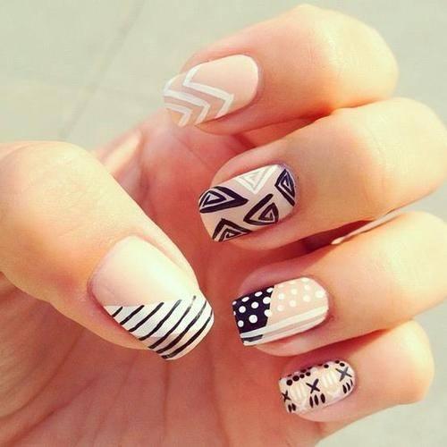 black-white-tribal-nails