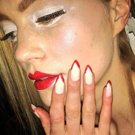 nail-art-trends-at-london-fashion-week-white-stiletto-nails-with-red-and-gold-point-tips-jenni-draper-and-orly