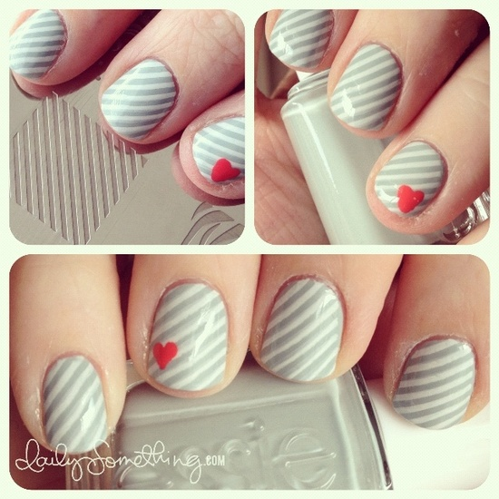 stripes-and-heart-nails