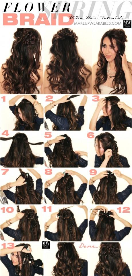 Romantic-long-hairstyles-with-curls-flower-braid-hair-tutorial
