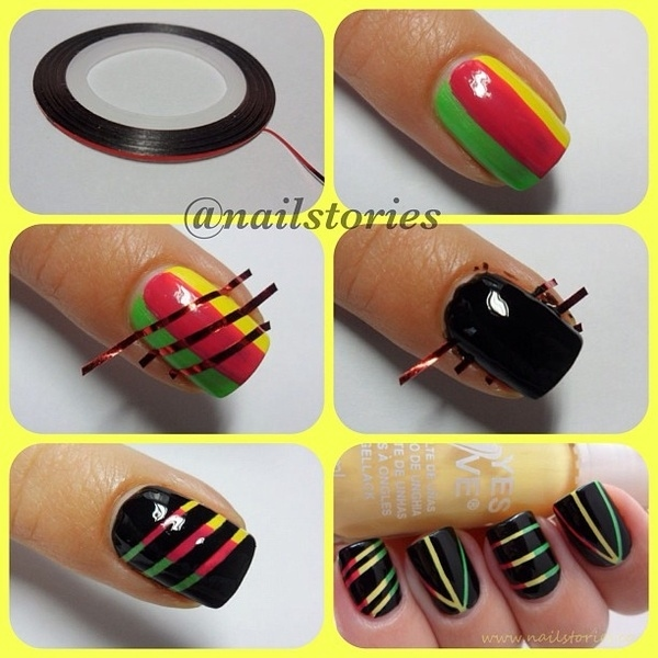 Cool Easy Art Designs : Cute nail art designs using tape