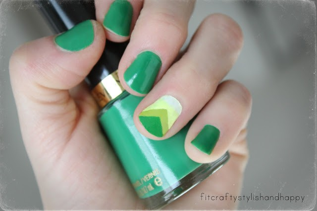 green chevron and st. patrick's nails
