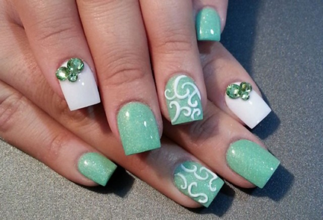 green-pastel-white-rhinestones-easter-nails