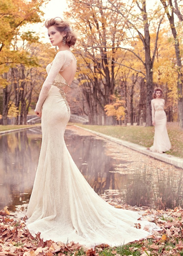 lazaro-bridal-chantilly-lace-trumpet-corseted-lace-golden-jewel-natural-sweetheart-fitted-keyhole-chapel-3512_zm