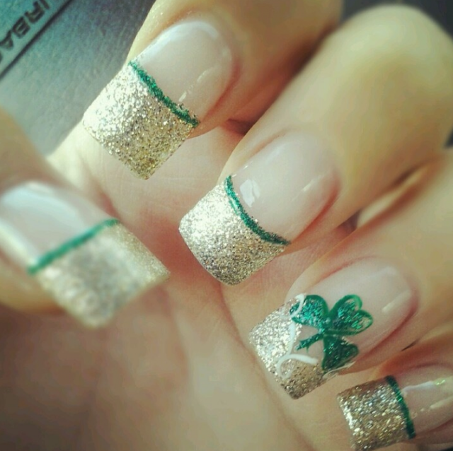 st-patricks-day-french-tip-nails