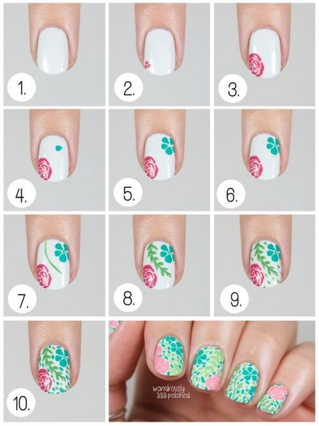 flowers and flowers - Nail Art Gallery Step-by-Step ... |Flower Nail Art Tutorial Step By Step