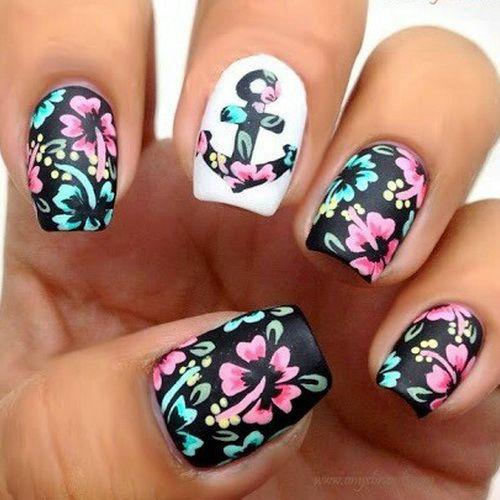 Cute-Anchor-Flowers-Short-Nail-Designs
