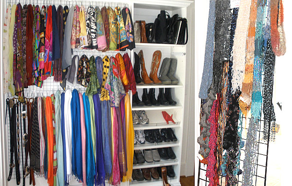 Marvelous-Scarf-Storage-with-Various-Scarves-Hanging-on-Excellent-Hooks-of-Fabulous-Grid-Wall-next-to-Shoes-Wardrobe-for-Intriguing-Interior-Furniture