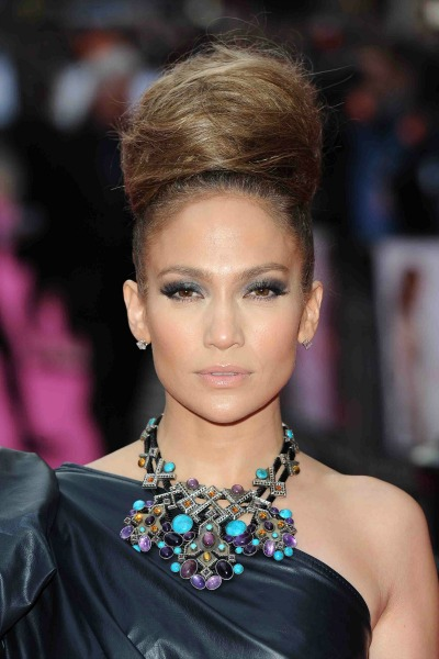 Top-Knot-High-Bun-Jennifer-Lopez-statement-necklace-big-smokey-eye-one-shoulder-grey-dress-headshot-New-