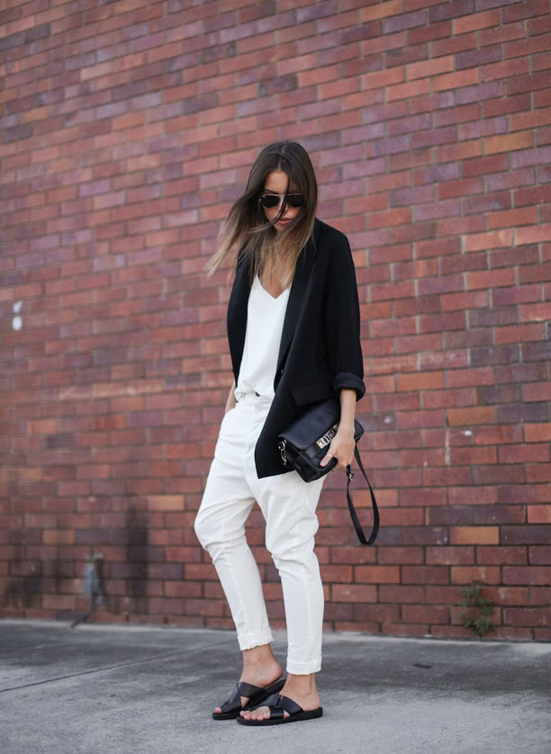 modern-legacy-fashion-blogger-Australia-Camilla-and-Marc-Zoya-Cami-white-Tibi-Bassike-Lo-Slung-pant-Zara-boyfriend-blazer-Proenza-Schouler-PS11-Mini-slide-sandals-monochrome-street-style-5-of-7