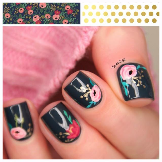 vintage flower notebook nails 1