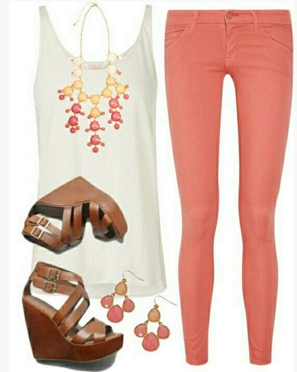 Casual-Grey-Spring-Outfitwhite-tank-top-bright-pink-skinnies-and-wedges