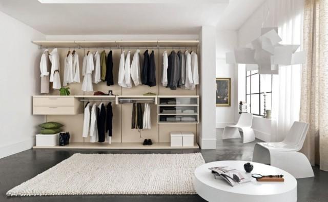 Walk In Wardrobe IKEA with White Rug
