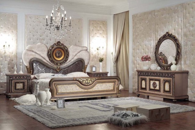 King-Bedroom-Styles-Escorted-By-Luxury-King-Size-Bed-As-Well-As-Oval-Carving-Mirrored-Bedroom-Furniture-Vanity-As-Well-As-Tufted-Wall-Decors-Plan-Classic-And-Elegant-Mirrored-Bedroom-945x629