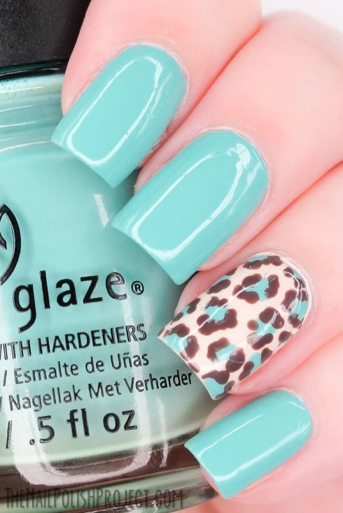 Leopard-Print-Nail-Art-Combine-with-Pastel-Nail-Polish