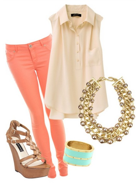 The-Sleeveless-Blouse-Pink-Skinny-Jeans-and-Wedge-for-Spring-2014-Outfit-Ideas