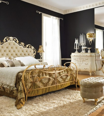 heavenly-bedroom-ideas-with-single-bed-design-with-double-size-and-two-white-cabinet-ideas-with-candle-light-and-black-wall-ideas-with-white-fur-rug-and-white-arm-chairs-with-rounded-gold-flooring-lamp-and-gold-bed-