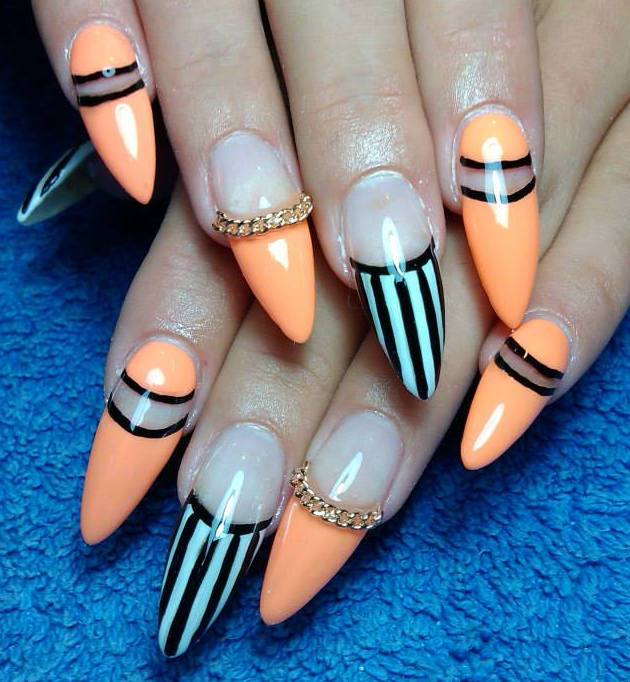 orange-black-white-nails