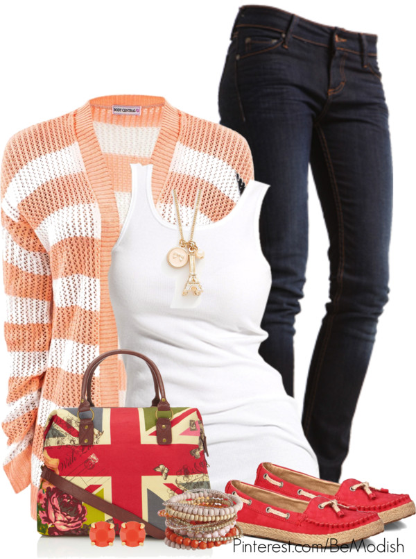 peach-striped-cardigan-outfit