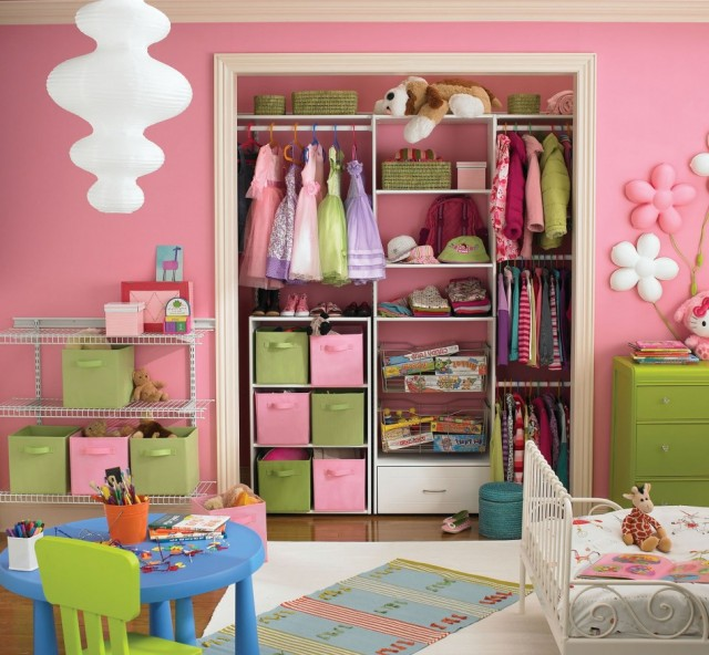 pink-wall-bedroom-color-with-creative-closet-for-hanging-clothes-also-basket-storage-along-with-white-drawer-and-cute-small-bed-also-blue-circular-table-and-green-chair-948x877